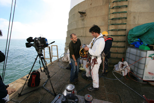Rob Wassell preparing to film for BBC Breakfast at Beachy Head Lighthouse