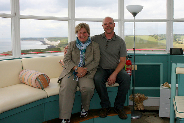 Rob Wassell with Sandi Toksvig whilst recording for Radio 4's Excess Baggage at the Belle Tout Lighthouse