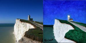 Belle Tout Lighthouse Painting Photo Comparison